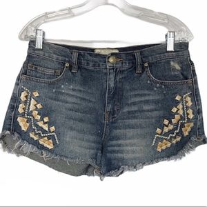 FREE PEOPLE Tulum Short Embroidered Aztec Print 28